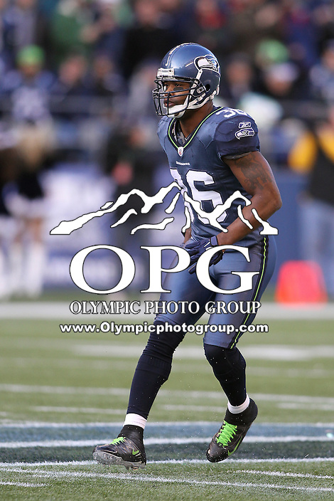 December 19, 2010:  Seattle Seahawks safety #36 Lawyer Milloy sets up on defense against Atlanta.  Atlanta defeated Seattle 34-18 at Quest Field in Seattle, WA.