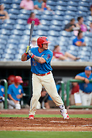 Clearwater Threshers catcher Wilson Ramos (25) at bat during a game against the St. Lucie Mets on August 11, 2018 at Spectrum Field in Clearwater, Florida.  St. Lucie defeated Clearwater 11-0.  (Mike Janes/Four Seam Images)