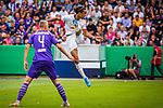 11.08.2019, Stadion an der Bremer Brücke, Osnabrück, GER, DFB Pokal, 1. Hauptrunde, VfL Osnabrueck vs RB Leipzig, DFB REGULATIONS PROHIBIT ANY USE OF PHOTOGRAPHS AS IMAGE SEQUENCES AND/OR QUASI-VIDEO<br /> <br /> im Bild | picture shows:<br /> Yussuf Poulsen (RB Leipzig #9) verpasst die Flanke knapp, <br /> <br /> Foto © nordphoto / Rauch