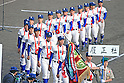 Riseisha team group,<br /> APRIL 2, 2014 - Baseball :<br /> Runners-up Riseisha players parade the field during the closing ceremony after the 86th National High School Baseball Invitational Tournament final game between Ryukoku-Dai Heian 6-2 Riseisha at Koshien Stadium in Hyogo, Japan. (Photo by Katsuro Okazawa/AFLO)