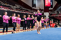 STANFORD, CA -- February 01, 2019. The Stanford Cardinal women's gymnastics team loses to the University of Washington Huskies 195.825 to 195.475 at Maples Pavilion.