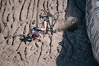 Elle Anderson crashing spectacularly in the infamous Zonhoven 'Kuil' (or 'Pit')<br /> <br /> Elite Women's Race<br /> CX Super Prestige Zonhoven 2017