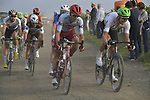 The lead group give chase on the vine tracks during the 113th edition of Paris-Tours 2019, running 217km from Chartres to Tours, France. 13th October 2019.<br /> Picture: ASO/Bruno Bade | Cyclefile<br /> All photos usage must carry mandatory copyright credit (© Cyclefile | ASO/Bruno Bade)