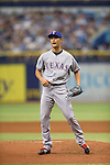 Yu Darvish (Rangers),<br /> APRIL 6, 2014 - MLB :<br /> Yu Darvish of the Texas Rangers pitches during the baseball game against the Tampa Bay Rays at Tropicana Field in St. Petersburg, Florida, United States. (Photo by Thomas Anderson/AFLO) (JAPANESE NEWSPAPER OUT)