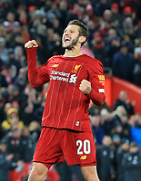 30th October 2019; Anfield, Liverpool, Merseyside, England; English Football League Cup, Carabao Cup, Liverpool versus Arsenal; Adam Lallana of Liverpool punches the air after scoring during the penalty shootout  - Strictly Editorial Use Only. No use with unauthorized audio, video, data, fixture lists, club/league logos or 'live' services. Online in-match use limited to 120 images, no video emulation. No use in betting, games or single club/league/player publications