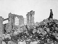 American advance northwest of Verdun.  The runied church on the crest of the captured height of Montfaucon.  This was the condition of the site after the Americans finally drove the Germans out from it.  France, 1918.  (Army)<br />EXACT DATE SHOT UNKNOWN<br />NARA FILE #:  111-SC-23669<br />WAR & CONFLICT BOOK #:  697