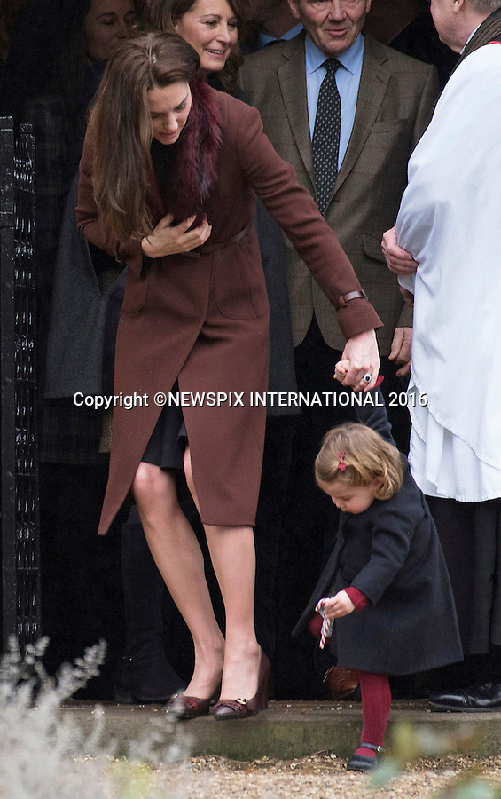 25.12.2016; Englefield, UK: PRINCE GEORGE AND PRINCESS CHARLOTTE - 1ST XMAS SERVICE<br /> The Duke and Duchess of Cambridge took Prince George and Princess Charlotte to their first Christmas Day church service at St Mark&rsquo;s Church, Englefield. <br /> While the rest of the royals attended church service at Sandringham.<br /> Picture Shows: Princess Charlotte playing with a candy rock. <br /> Mandatory Photo Credit: &copy;Francis Dias/NEWSPIX INTERNATIONAL<br /> <br /> IMMEDIATE CONFIRMATION OF USAGE REQUIRED:<br /> Newspix International, 31 Chinnery Hill, Bishop's Stortford, ENGLAND CM23 3PS<br /> Tel:+441279 324672  ; Fax: +441279656877<br /> Mobile:  07775681153<br /> e-mail: info@newspixinternational.co.uk<br /> Usage Implies Acceptance of OUr Terms &amp; Conditions<br /> Please refer to usage terms. All Fees Payable To Newspix International