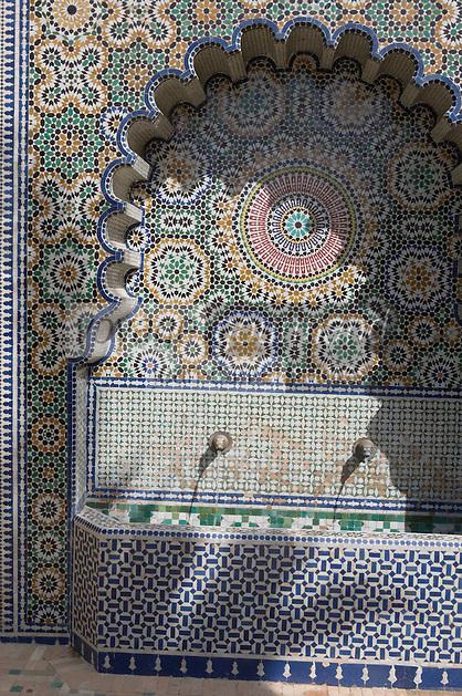Afrique/Afrique du Nord/Maroc/Fèz: Hotel Palais Jamai détail d'une fontaine des jardins