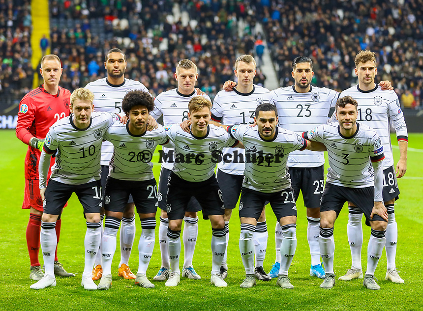 Mannschaftsfoto:<br /> hinten: Torwart Marc-Andre ter Stegen (Deutschland Germany), Jonathan Tah (Deutschland Germany), Toni Kroos (Deutschland Germany), Lukas Klostermann (Deutschland Germany), Emre Can (Deutschland Germany), Leon Goretzka (Deutschland, Germany), vorn: Julian Brandt (Deutschland Germany), Serge Gnabry (Deutschland Germany), Joshua Kimmich (Deutschland Germany), Ilkay Gündogan (Deutschland, Germany), Jonas Hector (Deutschland Germany) - 19.11.2019: Deutschland vs. Nordirland, Commerzbank Arena Frankfurt, EM-Qualifikation DISCLAIMER: DFB regulations prohibit any use of photographs as image sequences and/or quasi-video.
