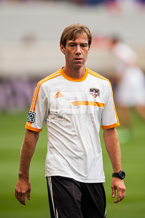 Houston Dynamo assistant coach Steve Ralston. The New York Red Bulls defeated the Houston Dynamo 2-0 during a Major League Soccer (MLS) match at Red Bull Arena in Harrison, NJ, on June 30, 2013.