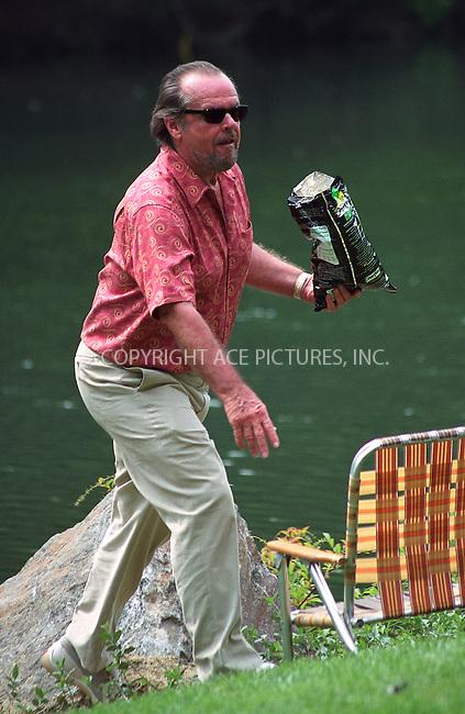 "Jack Nicholson on the set of ""Anger Management"" in Central Park, New York, July 1, 2002. Please byline: Alecsey Boldeskul/NY Photo Press.   ..*PAY-PER-USE*      ....NY Photo Press:  ..phone (646) 267-6913;   ..e-mail: info@nyphotopress.com"