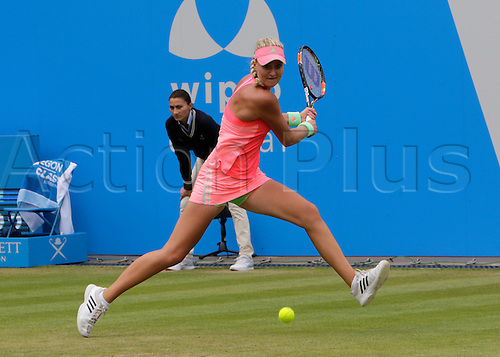 20.06.2015.  Birmingham, England. Aegon Classic Tennis Tournament. Kristina Mladenovic (Fra) in the rain-delayed semi-final action against Karolina Pliskova (Cze).