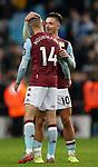 Jack Grealish of Aston Villa hugs goalscorer Conor Hourihane of Aston Villa during the Premier League match at Villa Park, Birmingham. Picture date: 25th November 2019. Picture credit should read: Darren Staples/Sportimage