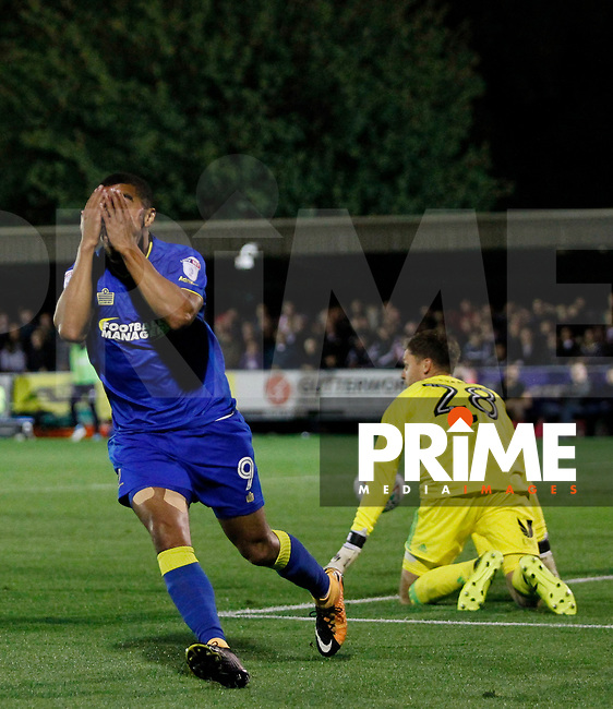 AFC Wimbledon's Kwesi Appiah rues a missed chance during the Carabao Cup match between AFC Wimbledon and Brentford at the Cherry Red Records Stadium, Kingston, England on 8 August 2017. Photo by Carlton Myrie.