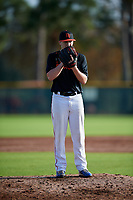 Michael Canning (63) of New Canaan, Connecticut during the Baseball Factory Pirate City Christmas Camp & Tournament on December 28, 2018 at Pirate City in Bradenton, Florida. (Mike Janes/Four Seam Images)