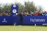 Tommy Fleetwood (Team Europe) on the 8th tee during Friday Fourball at the Ryder Cup, Le Golf National, Iles-de-France, France. 28/09/2018.<br /> Picture Thos Caffrey / Golffile.ie<br /> <br /> All photo usage must carry mandatory copyright credit (© Golffile | Thos Caffrey)