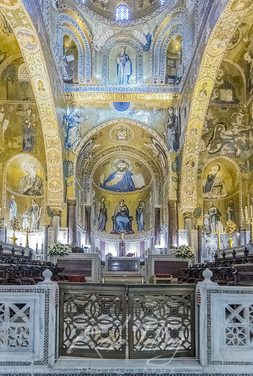 Europe, Italy, Sicily, Palermo, Palatine Chapel (Cappella Palatina) commissioned by Norman King Roger II and completed in the 12th Century