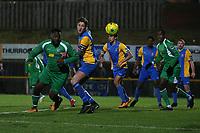 Quba Gordon of Haringey goes close during Romford vs Haringey Borough, Bostik League Division 1 North Football at Ship Lane on 8th November 2017