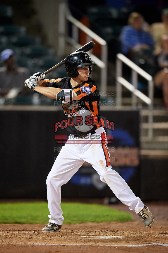 Aberdeen IronBirds shortstop Adam Hall (1) at bat during a game against the Staten Island Yankees on August 23, 2018 at Leidos Field at Ripken Stadium in Aberdeen, Maryland.  Aberdeen defeated Staten Island 6-2.  (Mike Janes/Four Seam Images)