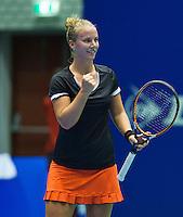 Rotterdam, Netherlands, December 19, 2015,  Topsport Centrum, Lotto NK Tennis, Richel Hogenkamp (NED) wins and reacts<br /> Photo: Tennisimages/Henk Koster