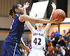Tamia Cutignola #1 of St. Mary's, uses an underhanded finger roll to score two points during the CHSAA varsity girls basketball Class A state final against Sacred Heart (Buffalo) at St. John Villa Academy in Staten Island, NY on Saturday, Mar. 12, 2016. Sacred Heart won by a score of 61-53.