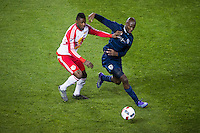 BRONX, NY - Saturday April 9, 2016: The New York Red Bulls lose 2-0 to Sporting Kansas City at home at Red Bull Arena during the 2016 MLS regular season.