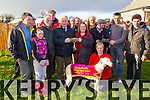 Lixnaw Coursing Club 86th Annual Meeting at Granshagh, Ballinclogher on Sunday <br /> <br /> Mickey Murphy Memorial Cup winner Simtam with owners Dorris and Liam Leddy, trainer Liam Leddy.  The trophy was sponsored by the Murphy Family, Lixnaw and presented by DJ Histon ICC.