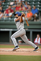 Second baseman Coco Montes (5) of the Asheville Tourists bats in a game against the Greenville Drive on Friday, August 23, 2019, at Fluor Field at the West End in Greenville, South Carolina. Greenville won, 11-1. (Tom Priddy/Four Seam Images)