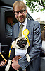 Nick Clegg unveils a new,  poster attacking Theresa May&rsquo;s decision to scrap free school lunches and replace them breakfasts costed at just 7p each. <br /> 31st May 2017 <br /> Geraldine Mary Harmsworth Park, London, Great Britain <br /> <br /> Nelson the Pug with George Turner - candidate <br /> <br /> Photograph by Elliott Franks <br /> Image licensed to Elliott Franks Photography Services