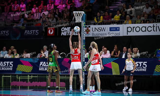 29/10/17 Fast5 2017<br /> Fast 5 Netball World Series<br /> Hisense Arena Melbourne<br /> Grand Final Jamaica v England<br /> Helen Housby<br /> <br /> <br /> <br /> <br /> <br /> Photo: Grant Treeby