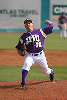 James Madison University pitcher Aaron Hoover #10 on the mound during a game against the Boston College Eagles at Watson Stadium at Vrooman Field on February 18, 2012 in Conway, SC.  Boston College defeated James Madison 8-5.  (Robert Gurganus/Four Seam Images)