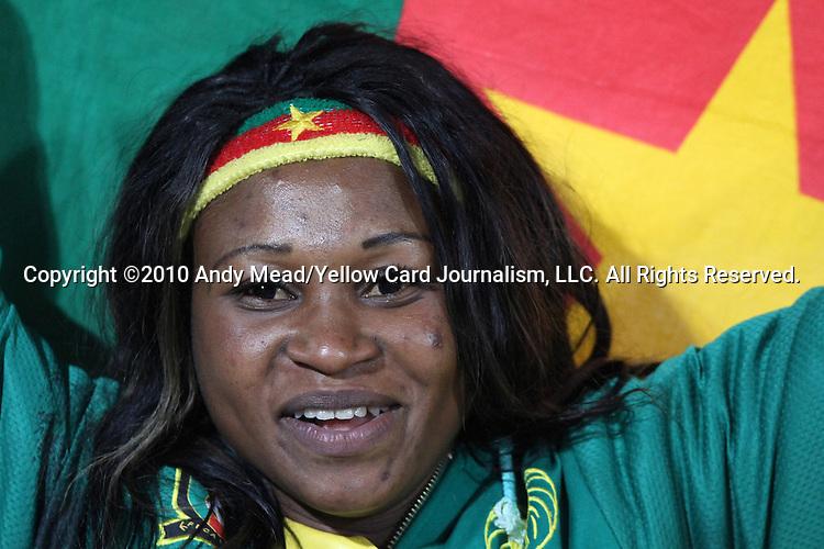 19 JUN 2010: A Cameroon fan, preagame. The Denmark National Team defeated the Cameroon National Team 2-1 at Loftus Versfeld Stadium in Tshwane/Pretoria, South Africa in a 2010 FIFA World Cup Group E match.