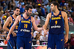 Spain's basketball player Alberto Abalde, Fernando San Emeterio and Felipe Reyes during the  match of the preparation for the Rio Olympic Game at Madrid Arena. July 23, 2016. (ALTERPHOTOS/BorjaB.Hojas)