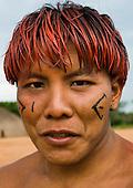 Xingu Indigenous Park, Mato Grosso State, Brazil. Aldeia Afukuri (Kuikuro). Yaloike Kuikuro, health care worker.