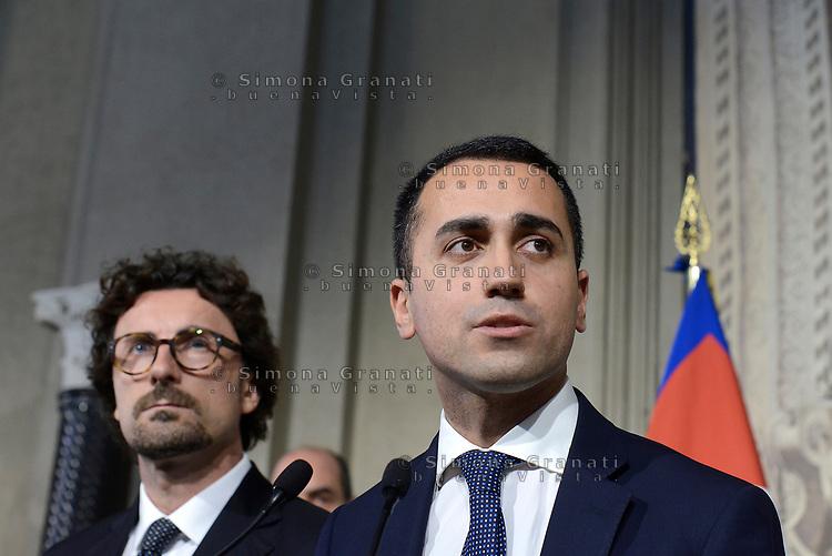 Roma, 14 Maggio 2018<br /> Danilo Toninelli e Luigi Di Maio<br /> Consultazioni al Quirinale per la formazione del nuovo Governo