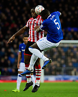 Everton's Kurt Zouma is fouled by Lincoln City's John Akinde<br /> <br /> Photographer Chris Vaughan/CameraSport<br /> <br /> Emirates FA Cup Third Round - Everton v Lincoln City - Saturday 5th January 2019 - Goodison Park - Liverpool<br />  <br /> World Copyright &copy; 2019 CameraSport. All rights reserved. 43 Linden Ave. Countesthorpe. Leicester. England. LE8 5PG - Tel: +44 (0) 116 277 4147 - admin@camerasport.com - www.camerasport.com