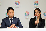 (L to R) Yuki Ota, Mami Sato, <br /> September 10, 2013  : <br /> International Olympic Committee (IOC) session return home press conference <br /> in Shinjuku, Tokyo, Japan. <br /> (Photo by Daiju Kitamura/AFLO SPORT)