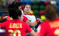 25 JUL 2012 - LONDON, GBR - Yvonne Leuthold (GBR) of Great Britain attempts to pass during the women's London 2012 Olympic Games warm up handball match against Spain at The Copper Box in the Olympic Park, in Stratford, London, Great Britain .(PHOTO (C) 2012 NIGEL FARROW)