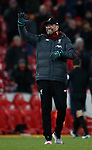 Jurgen Klopp manager of Liverpool waves to the fans during the Premier League match at Anfield, Liverpool. Picture date: 30th November 2019. Picture credit should read: Simon Bellis/Sportimage