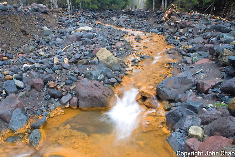 Sulfurous water flows near Tahoma Creek following the aftermath of the November, 2006 Flooding in Mount Rainier National Park, Washington State.