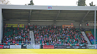 A general view of Ten Acres, home of Eastleigh FC showing the Lincoln City fans<br /> <br /> Photographer Andrew Vaughan/CameraSport<br /> <br /> Vanarama National League - Eastleigh v Lincoln City - Saturday 8th April 2017 - Silverlake Stadium - Eastleigh<br /> <br /> World Copyright &copy; 2017 CameraSport. All rights reserved. 43 Linden Ave. Countesthorpe. Leicester. England. LE8 5PG - Tel: +44 (0) 116 277 4147 - admin@camerasport.com - www.camerasport.com