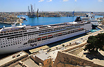 MSC cruise ship in Grand Harbour waterfront, Pinto Wharf, Valletta, Malta