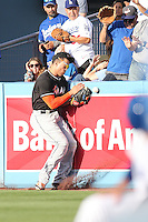 05/13/15 Los Angeles, CA: Miami Marlins right fielder Giancarlo Stanton #27 in action during an MLB game played at Dodger Stadium between the Miami Marlins and The Los Angeles Dodgers. The Marlins defeated the Dodgers 5-4