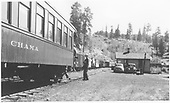 D&amp;RGW San Juan halted at Sublette with parlor car &quot;Chama&quot; on the rear.  Work train on siding with gondolas, B&amp;B boxes &amp; coaches.  Automobiles are late 1930s to early 1940s.<br /> D&amp;RGW  Sublette, NM