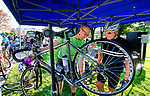 TORRINGTON, CT - 06 AUGUST 2017 - 080617JW02.jpg -- Cyclist Tom Hodgkin of Norfolk gets a pre-tour bike check from Benidorm Bikes Doug Tanner during the Tour of Litchfield Hills bike ride Sunday morning at Coe Memorial Park.  Jonathan Wilcox Republican-American