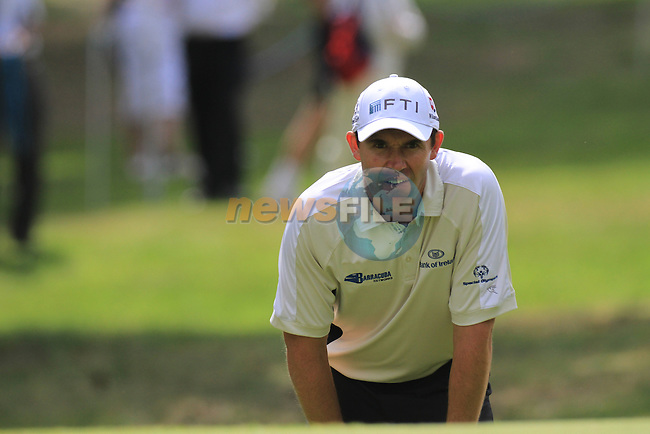 Padraig Harrington playing in onto the 10th green.during round two of the BMW PGA championship 2010 at Wentworth golf club, Surrey England..Picture Fran Caffrey/Newsfile.ie