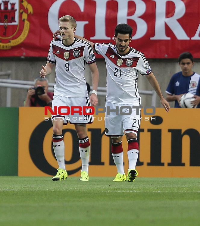 EM 2015 Qualifikationsspiel, Gibraltar vs. Deutschland<br /> Andr&eacute; Sch&uuml;rrle (Deutschland) jubelt &uuml;ber sein Tor zum 1:0<br /> <br /> <br /> Foto &copy; nordphoto /  Bratic