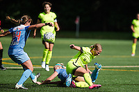 Seattle, WA - Sunday, May 22, 2016: Seattle Reign FC forward Merritt Mathias (9) collides with Chicago Red Stars defender Julie Johnston (8) during a regular season National Women's Soccer League (NWSL) match at Memorial Stadium. Chicago Red Stars won 2-1.