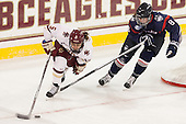 Alex Carpenter (BC - 5), Rebecca Lindblad (UConn - 8) - The Boston College Eagles defeated the visiting UConn Huskies 4-0 on Friday, October 30, 2015, at Kelley Rink in Conte Forum in Chestnut Hill, Massachusetts.