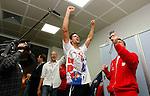 Tenis, Davis Cup 2010.Serbia Vs. Czech Republic, semifinals.Janko Tipsarevic Vs. Radek Stepanek.Serbia team, celebrate victory, Novak Djokovic.Beograd, 19.09.2010..foto: Srdjan Stevanovic/Starsportphoto ©